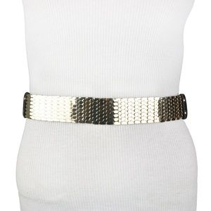 BCBG Gold Black Metallic Fish Scale Stretch Belt